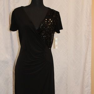 NWT AA Studio Black short sleeve V-neck Dress
